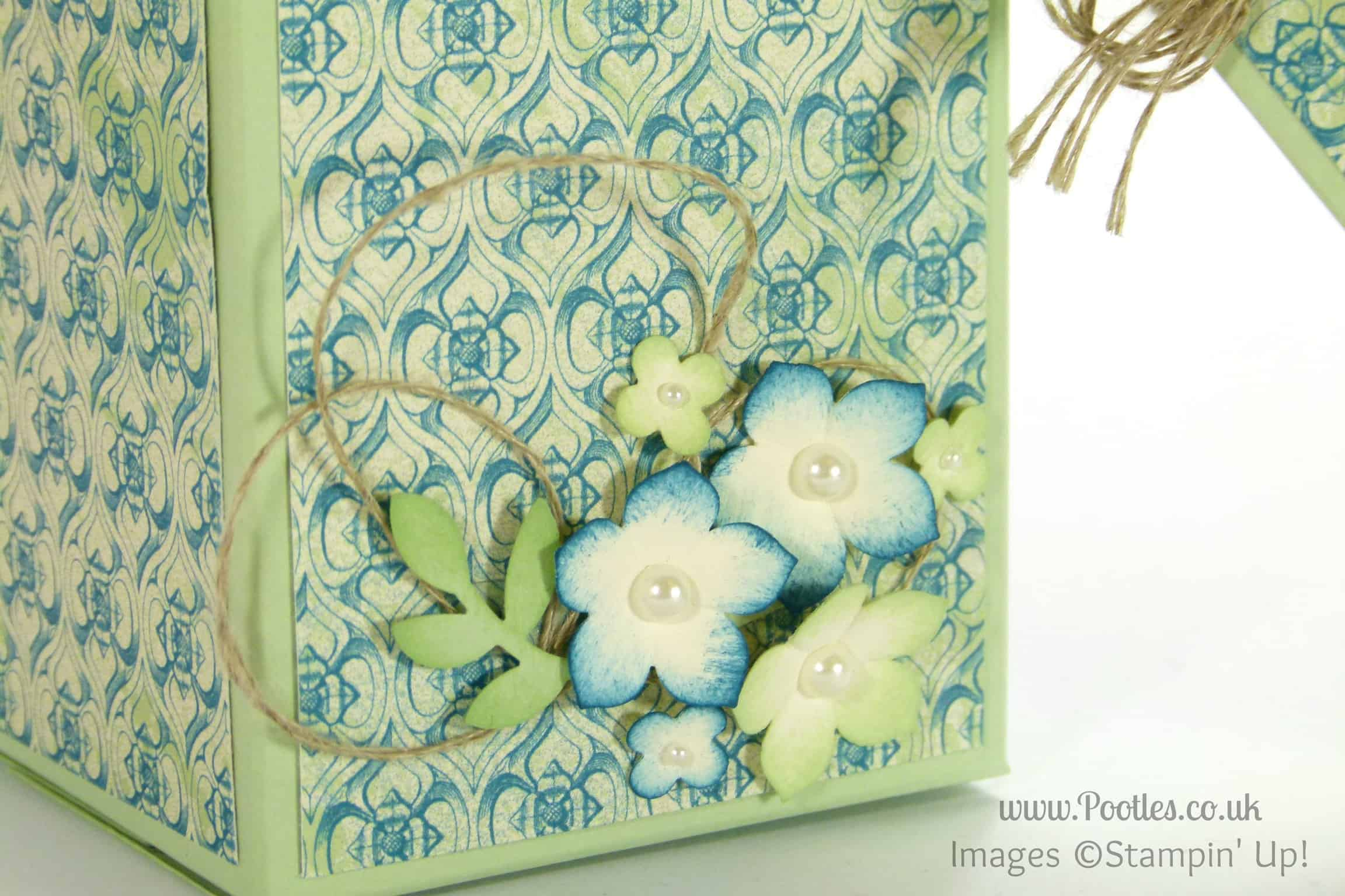 Stampin' Up! UK Demonstrator Pootles - 2 boxes from one sheet of Cardstock Tutorial close up