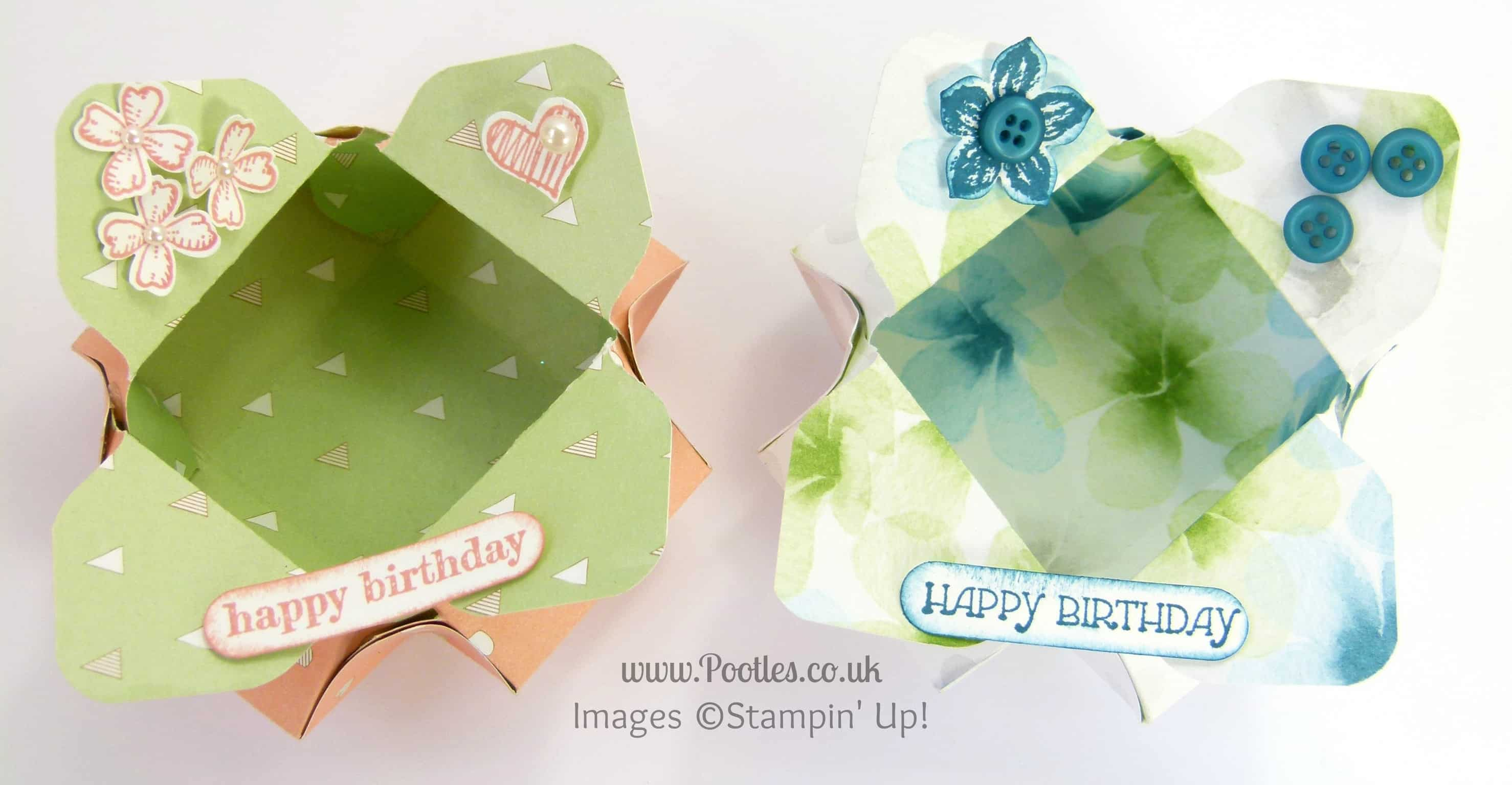 Stampin' Up! UK Demonstrator Pootles - Envelope Punch Board Pretty Petal Pot! Overhead View