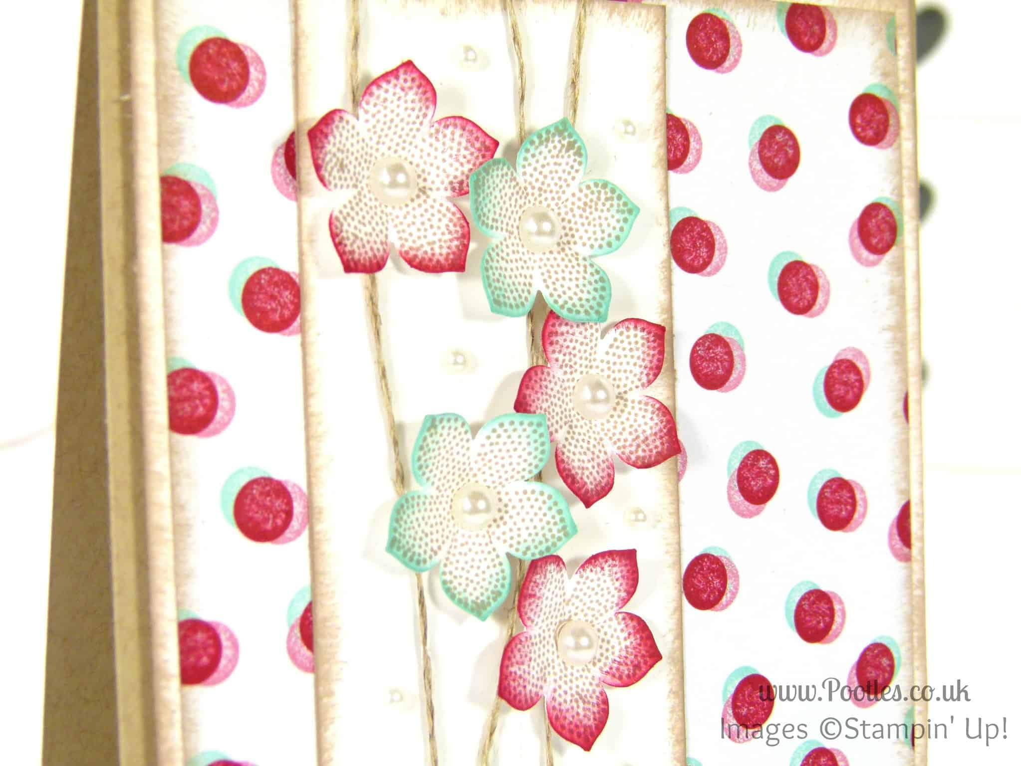 Stampin' Up! UK Demonstrator Pootles - Pretty Petite Fresh Prints Floral Card petite petals detail