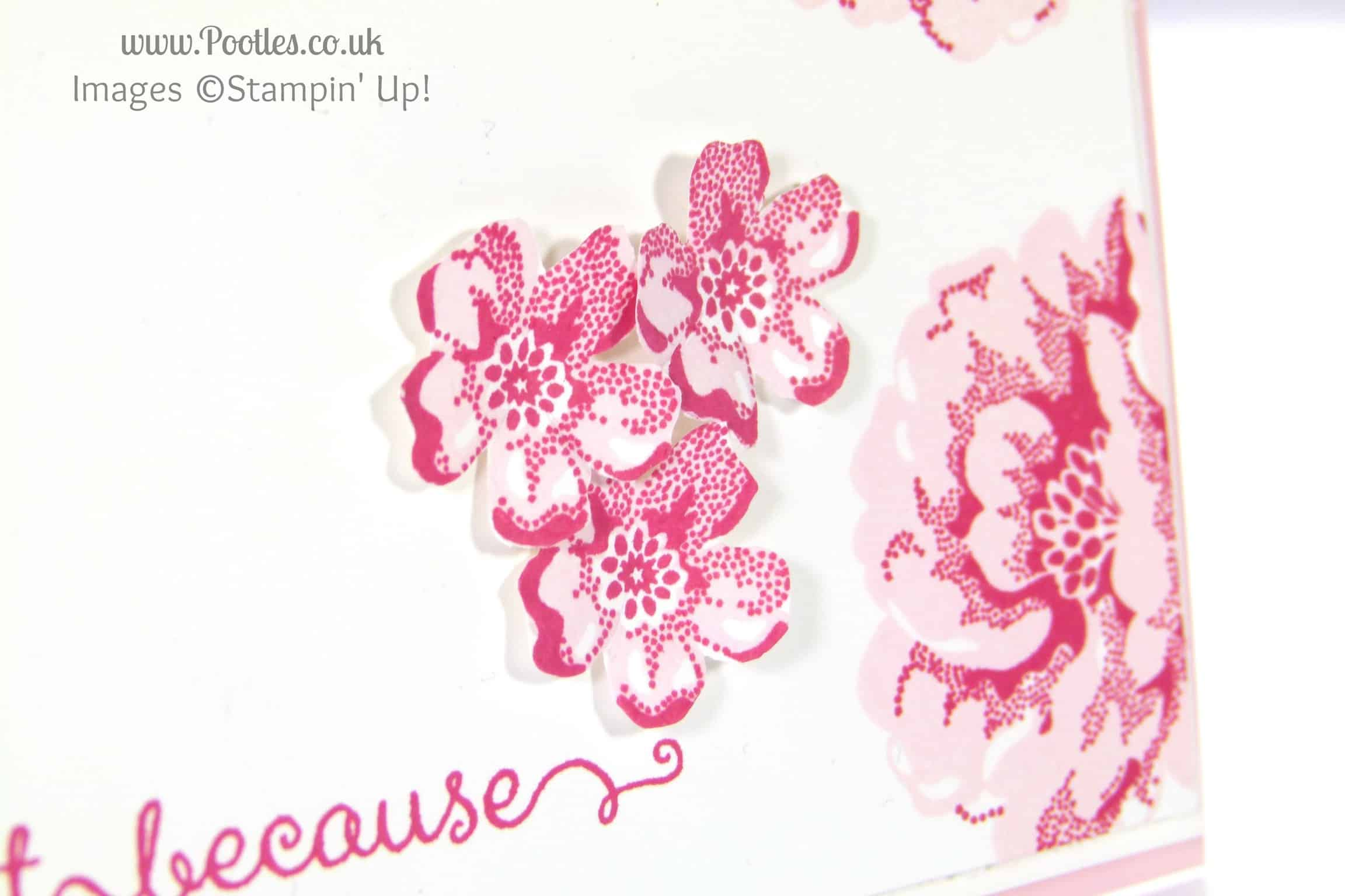 Stampin' Up! UK Independent Demonstrator Pootles - Floral Handmade Card using Stampin' Up! Stippled Blossoms fussy cutting details
