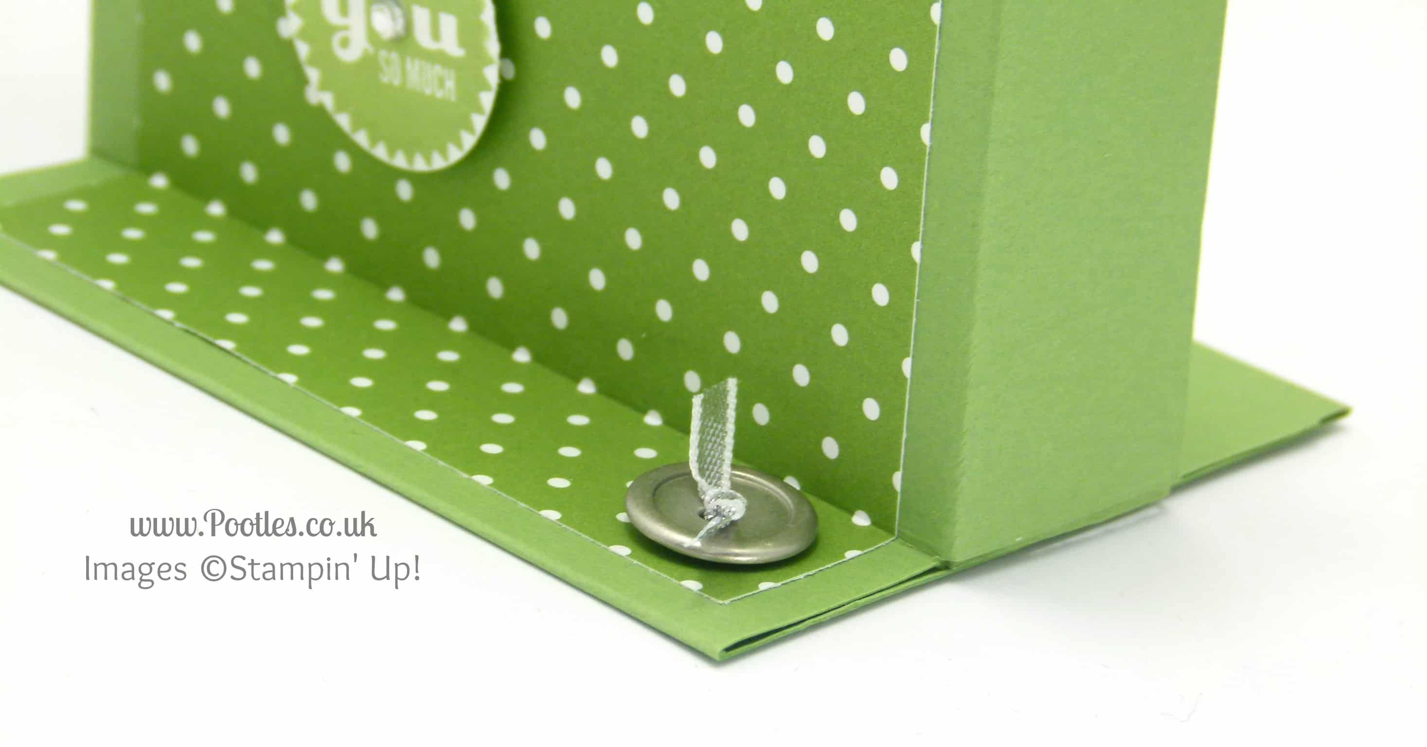 Stampin' Up! UK Independent Demonstrator Pootles - Freestanding Treat Bag Holder Tutorial button detail