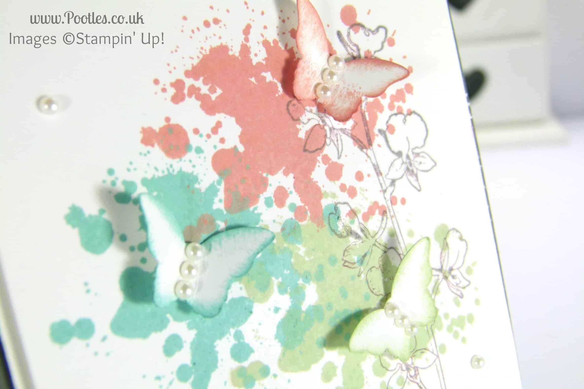 Stampin' Up! UK Independent Demonstrator Pootles - Gorgeous Grunge Bitty Butterflies Card Tutorial close up stamping