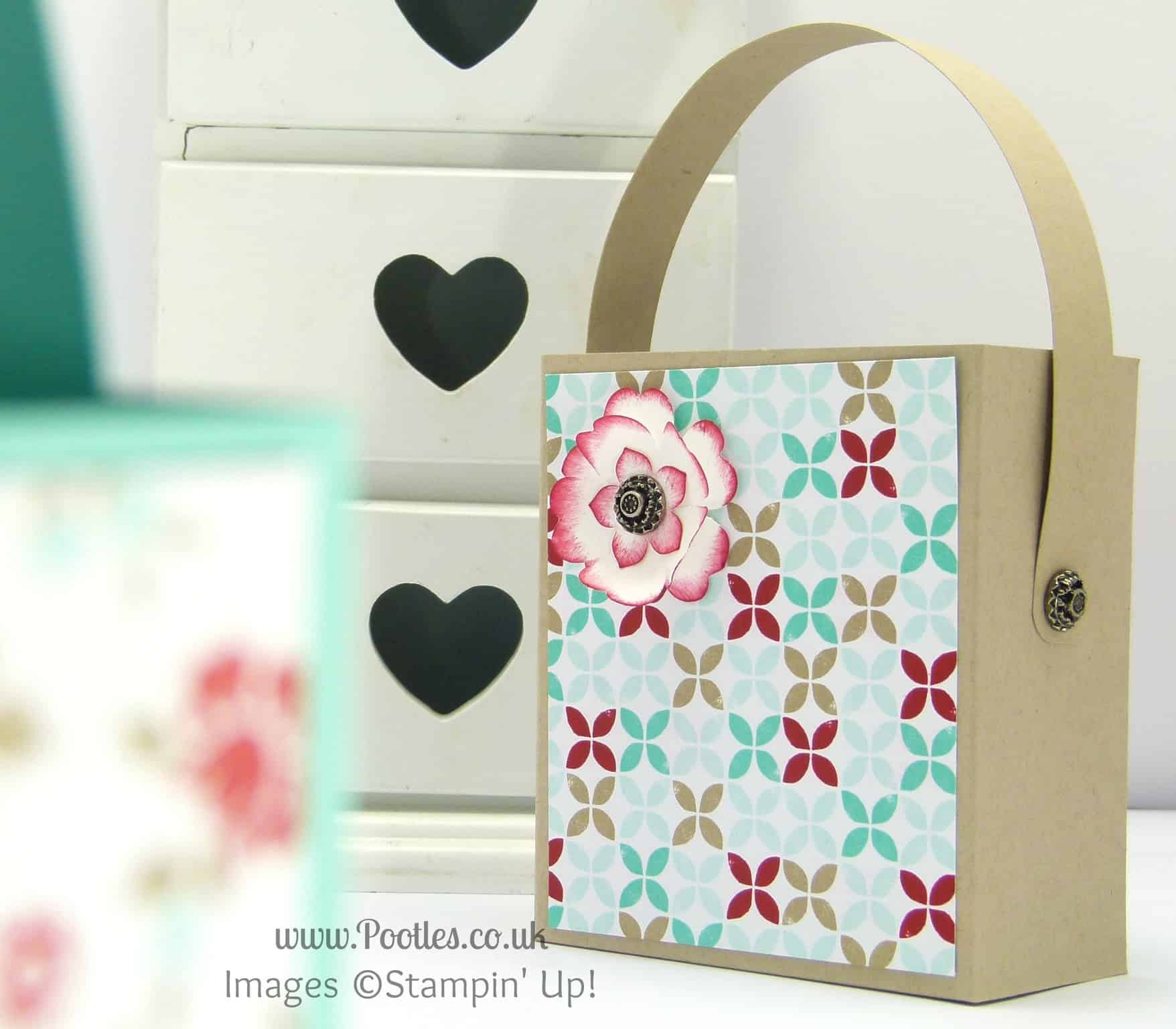 Stampin' Up! UK Independent Demonstrator Pootles - Hinged Handled Pretty Bag Tutorial Retro Crumb Cake Version