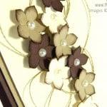 Pootles, Stampin Up UK Demonstrator - Chocolate and Cream Petite Petals Card close up