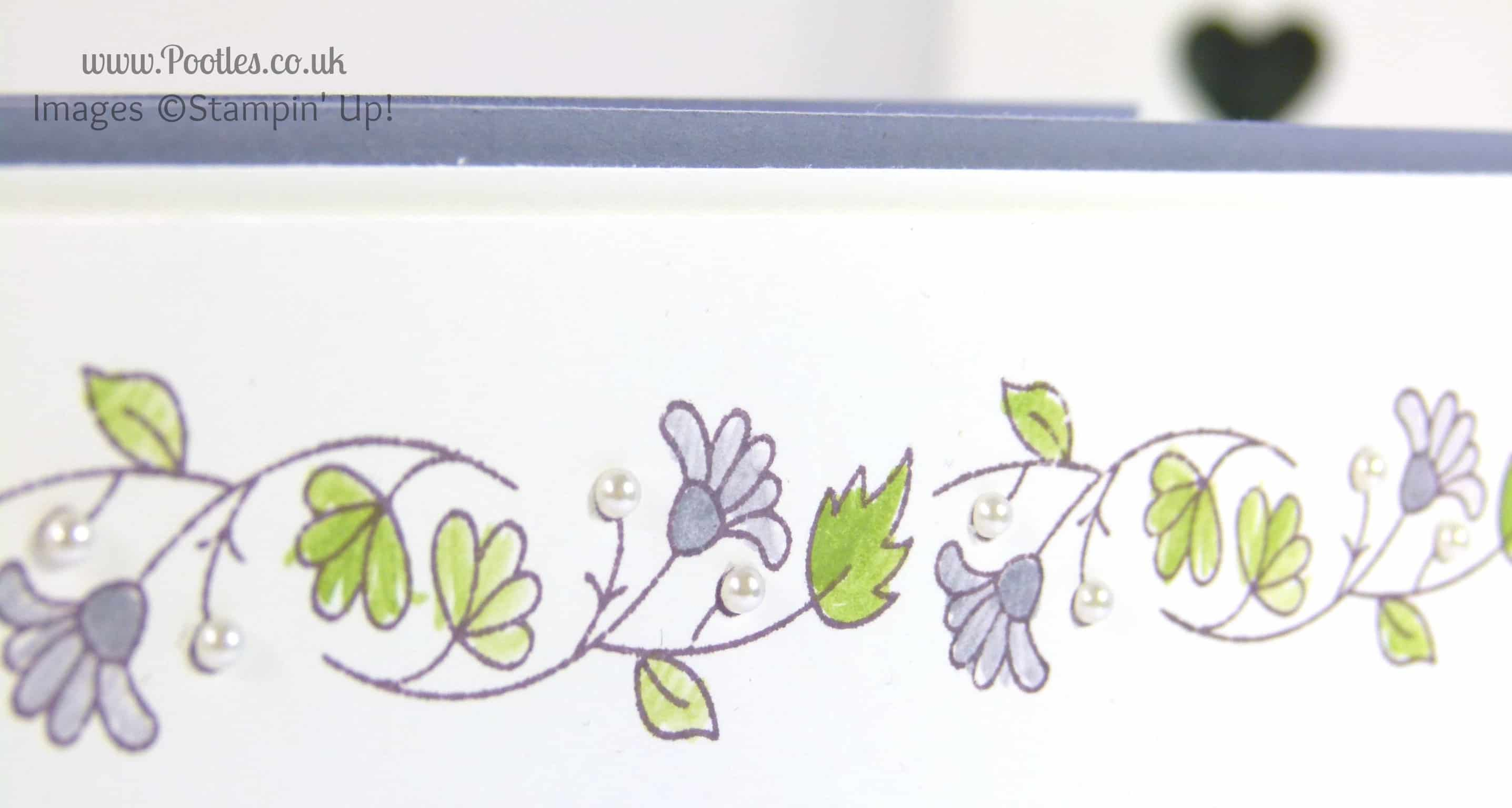 Stampin' Up! UK Demonstrator Pootles - Delicate Floral Thank You Card blender pen detail