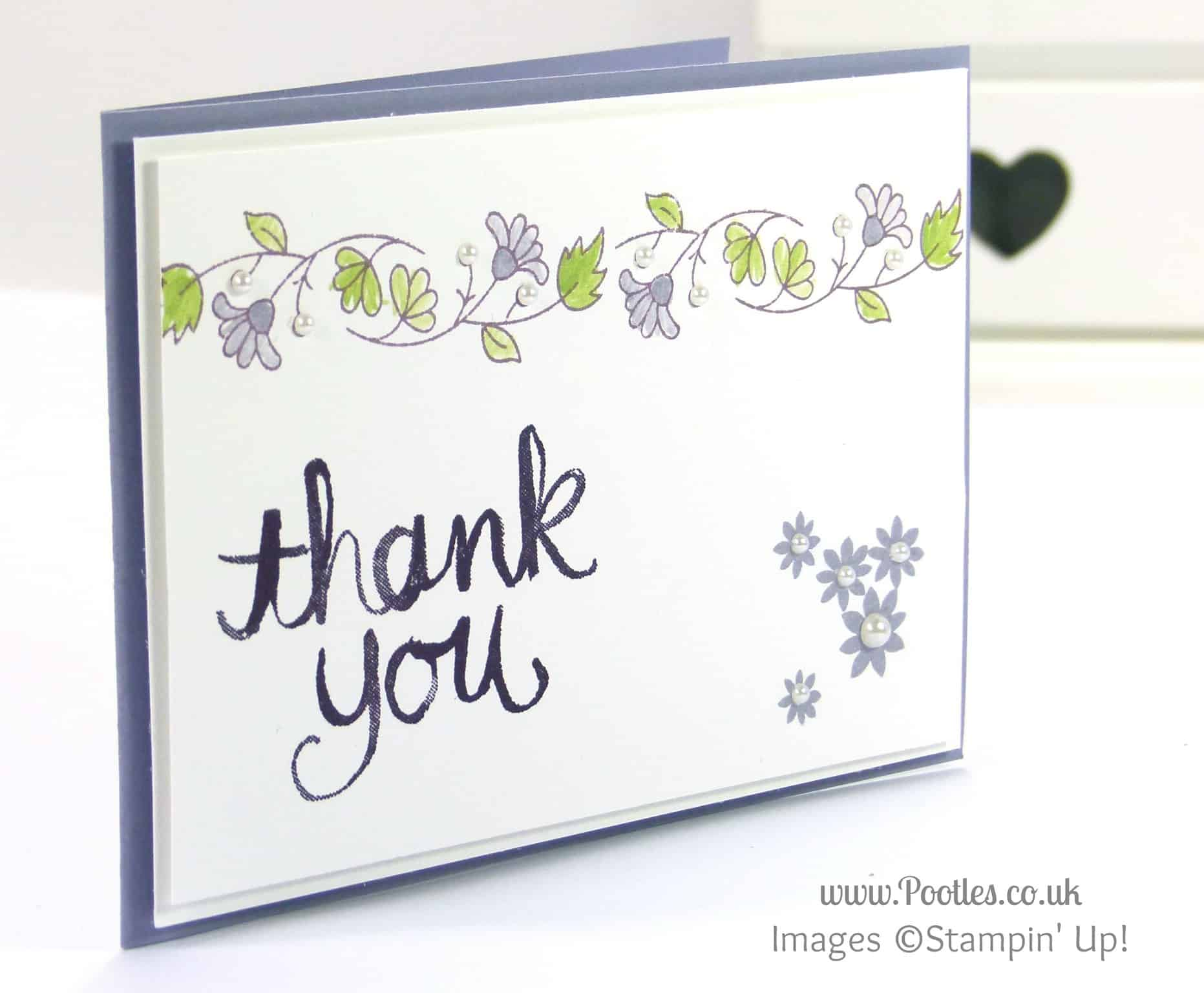 Stampin' Up! UK Demonstrator Pootles - Delicate Floral Thank You Card