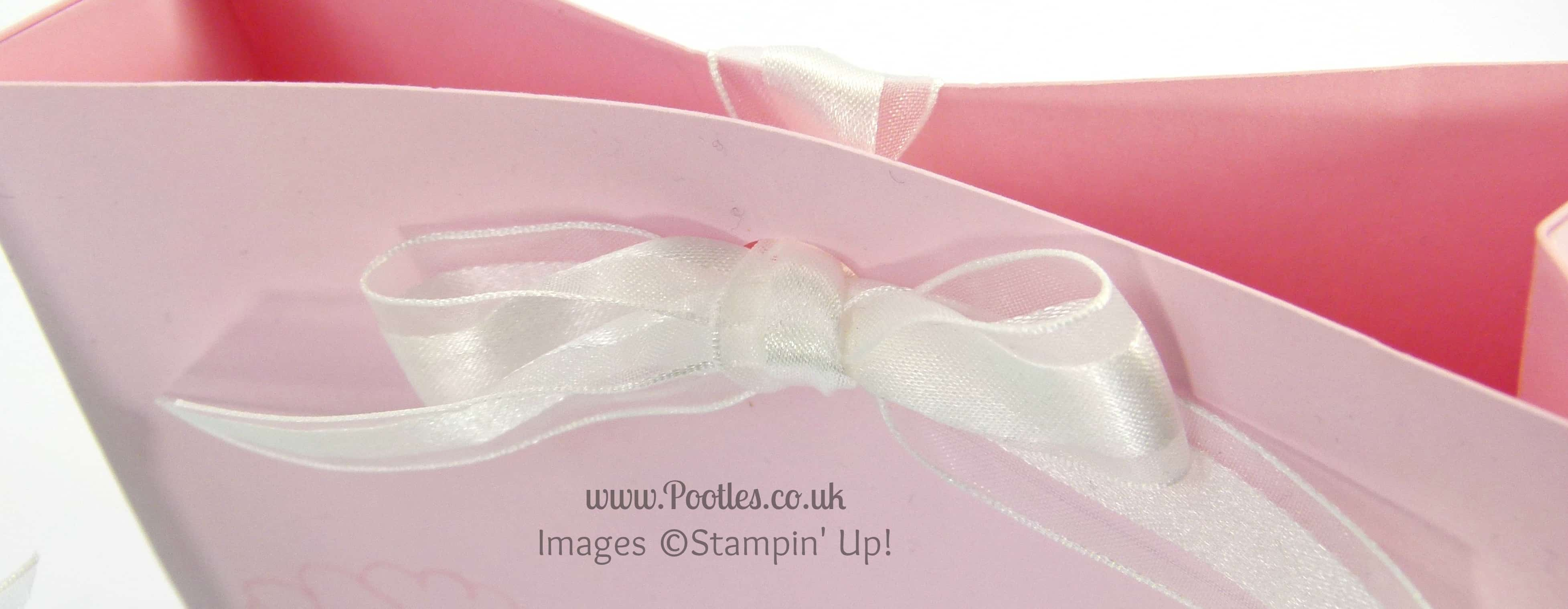 Stampin' Up! UK Demonstrator Pootles - Pandora Style Bag with Bow Close Tutorial Bow Close Up