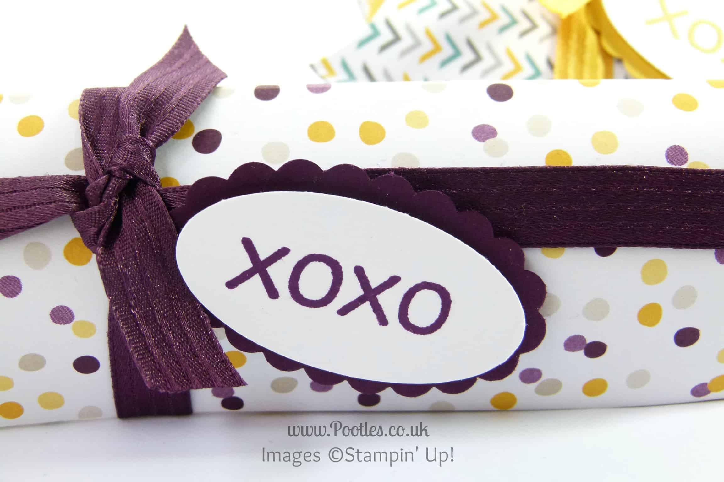 Stampin Up UK Demonstrator Pootles - Pillow Box using DSP Stacks Tutorial Stamped close up