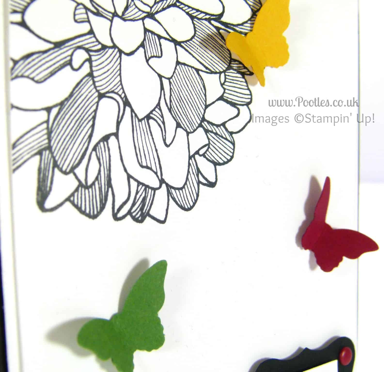 Stampin' Up! UK Independent Demonstrator Pootles - Regal Regarding Dahlias and Butterflies detail