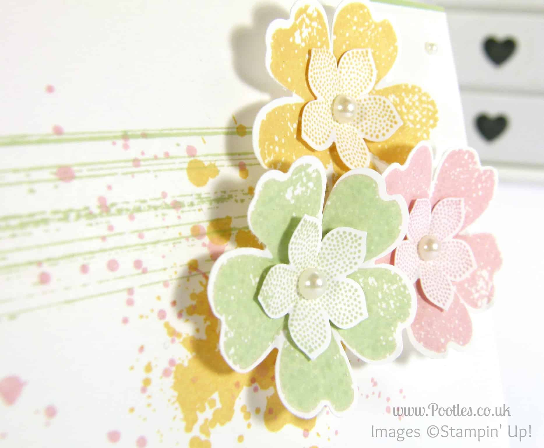 Stampin' Up! UK Independent Demonstrator Pootles - Soft and Subtle Pansies and Petite Petals Punch Detail