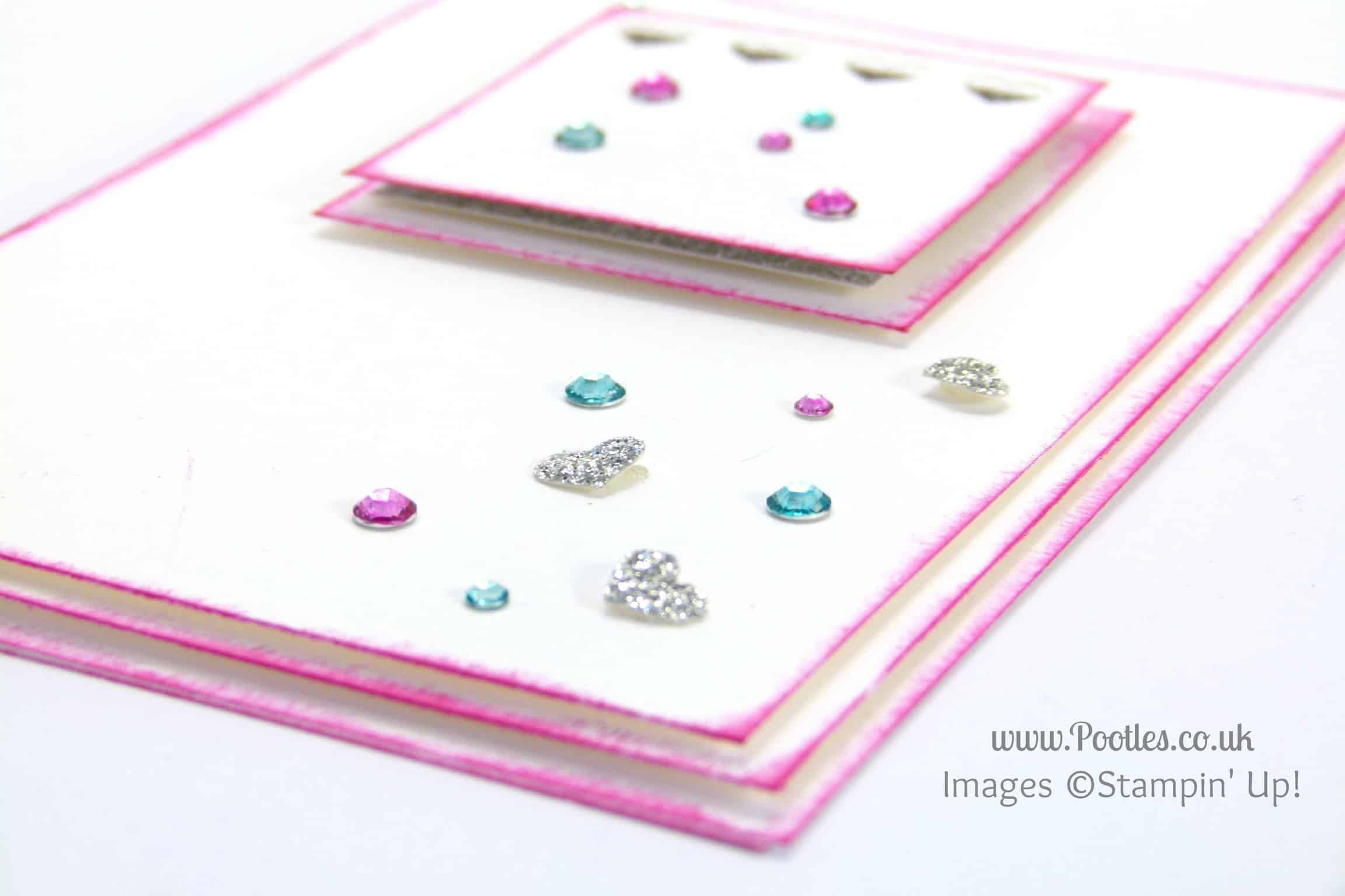 South Hill & Stampin Up on Sunday Pink & Blue Hearts Card Tutorial Blendabilities Rhinestones