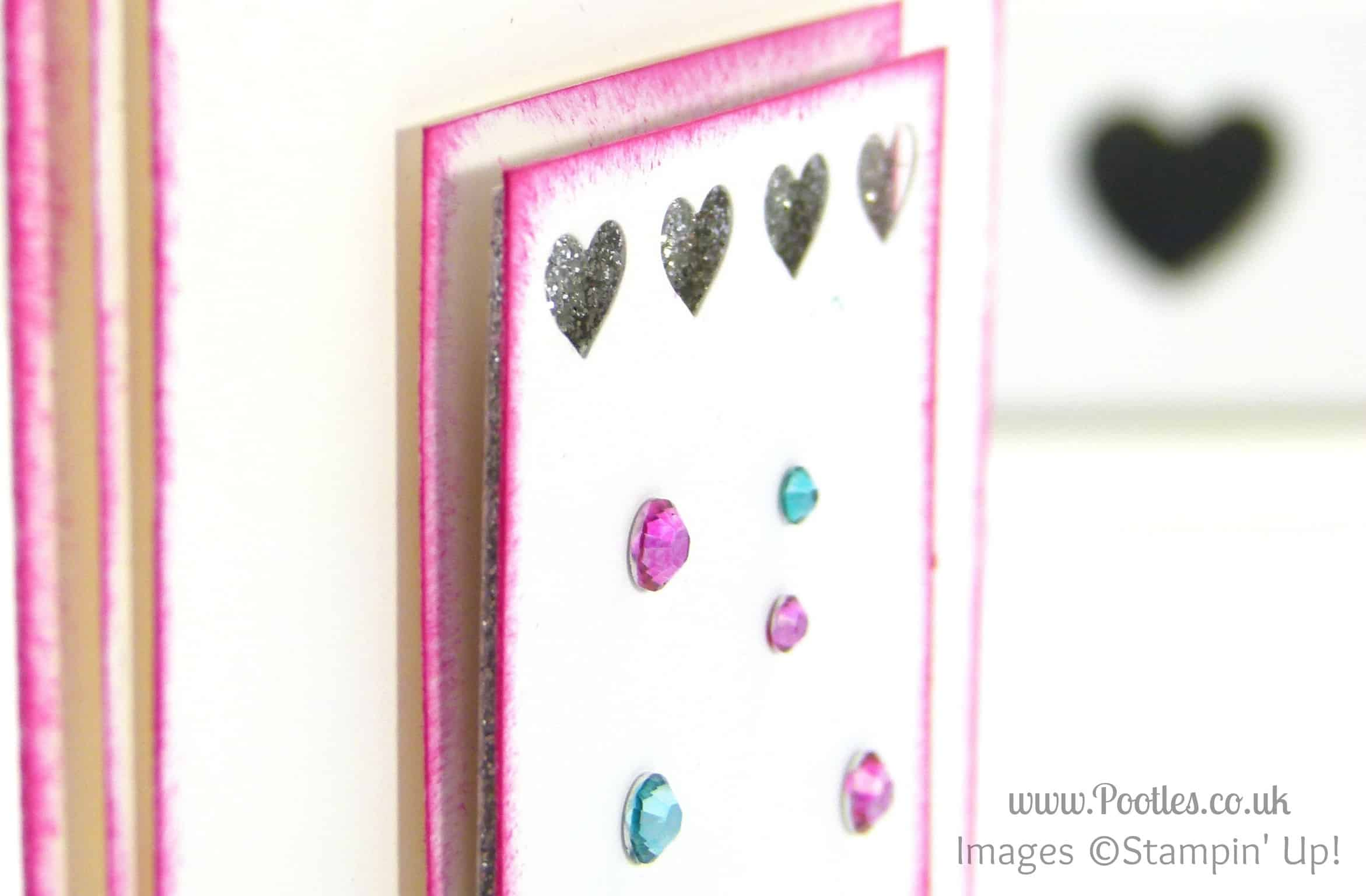 South Hill & Stampin Up on Sunday Pink & Blue Hearts Card Tutorial Hearts Border Punch Detail