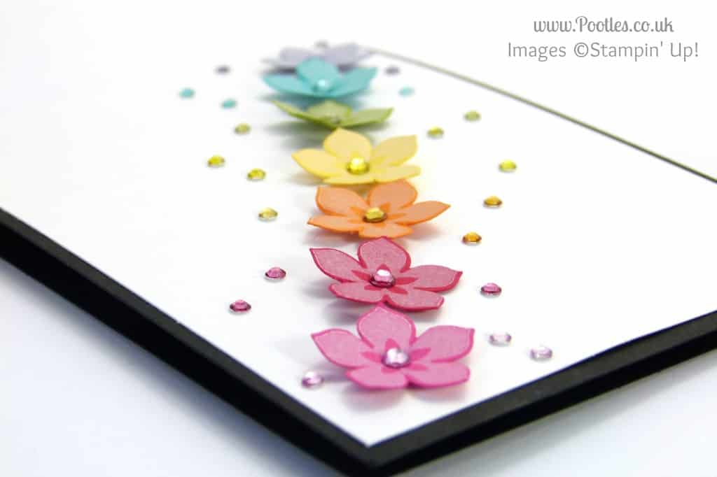 South Hill & Stampin Up on Sunday Rainbow Flowers Card Tutorial close up