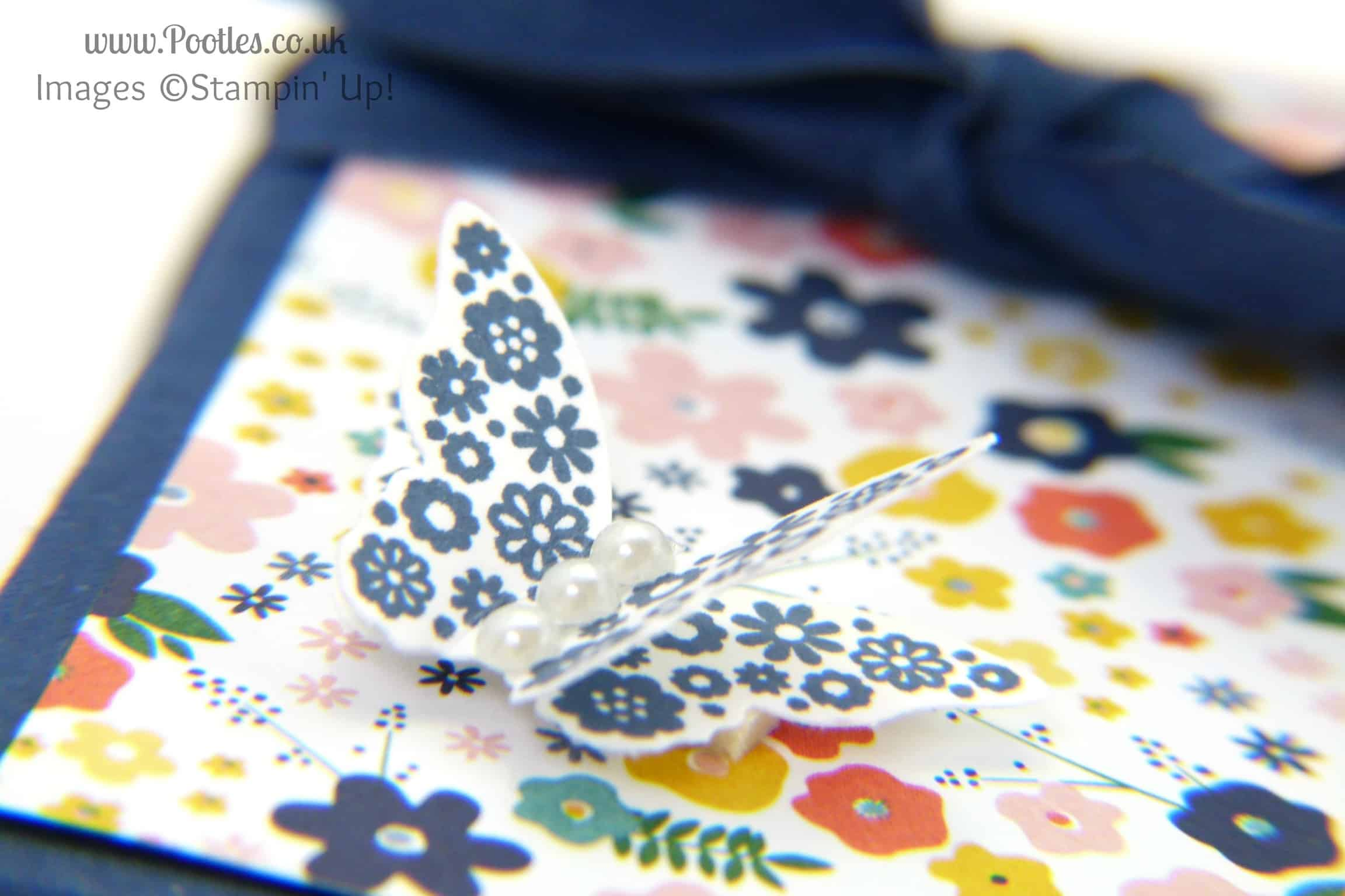 Stampin' Up! UK Demonstrator Pootles - 3 2 1 Box Tutorial using Stampin' Up Supplies butterfly detail