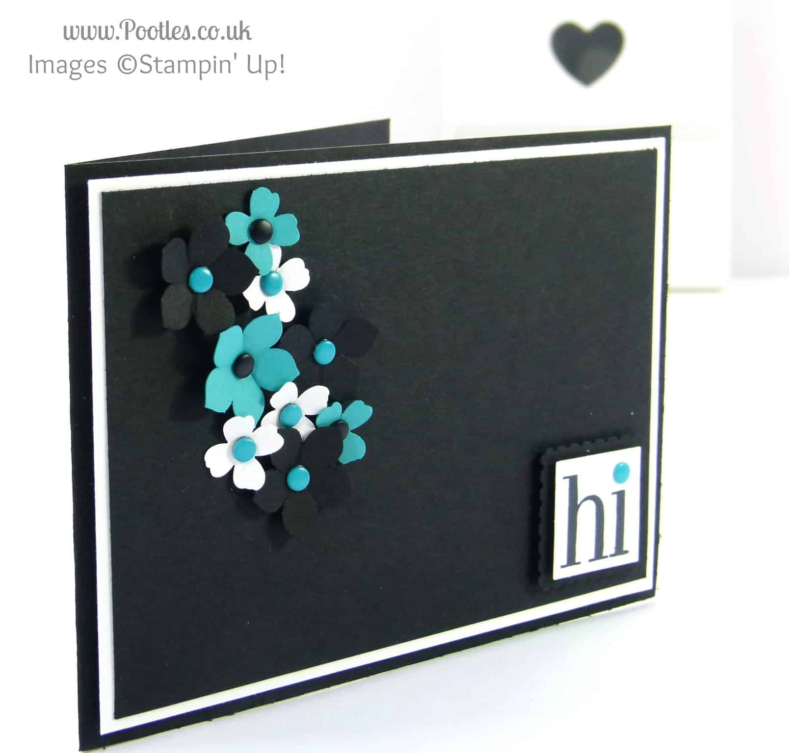 Stampin' Up! UK Demonstrator Pootles - Black, White and Bermuda Bay. Hi!