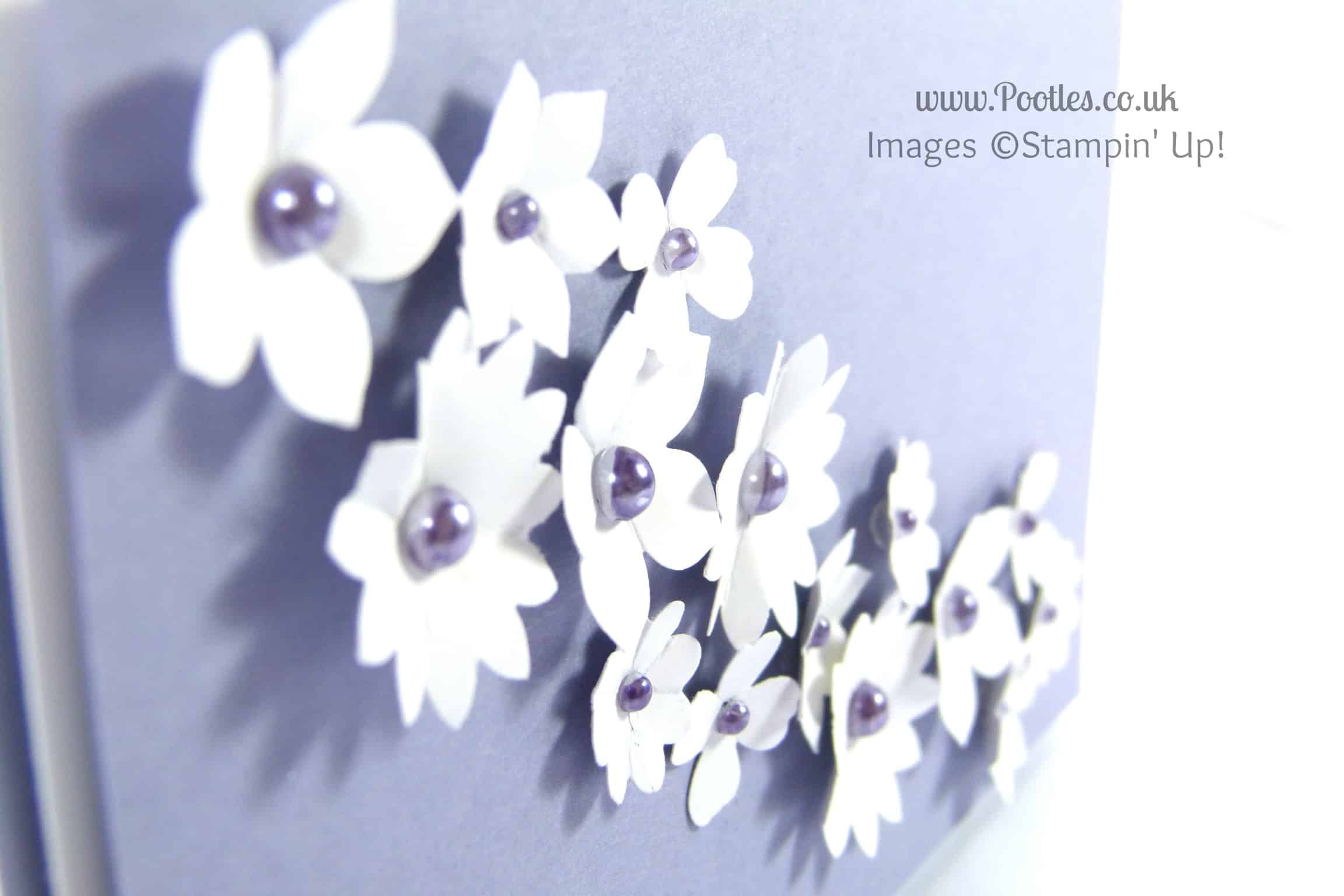 Stampin' Up! UK Demonstrator Pootles - Blendabilities and Pearls on a Wedding Cake Card Close Up