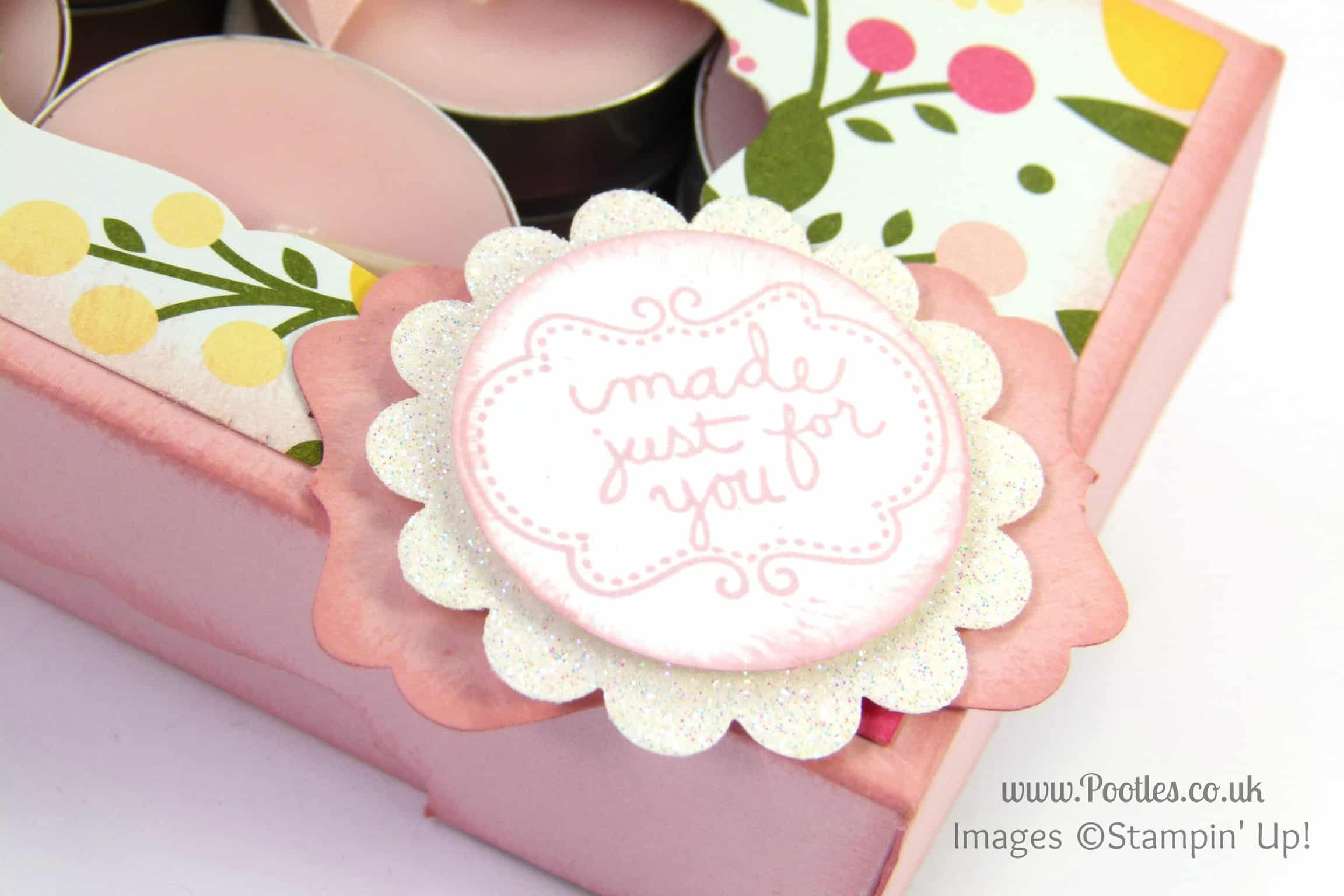 Stampin' Up! UK Demonstrator Pootles - Gorgeous Box for 12 Tea Lights Tutorial Punches Detail