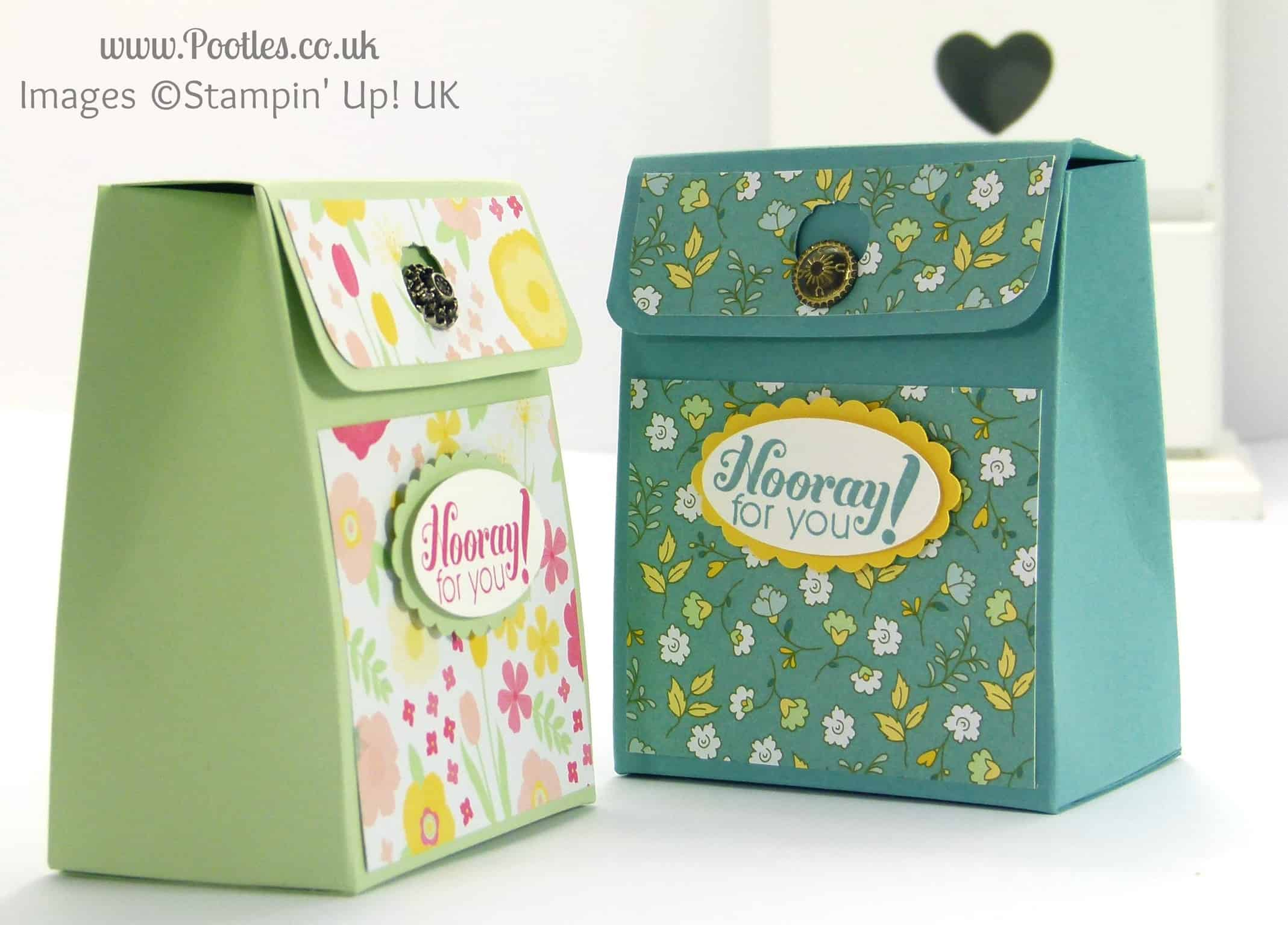 Stampin' Up! UK Demonstrator Pootles - Pinch Close Flat Topped Box Tutorial