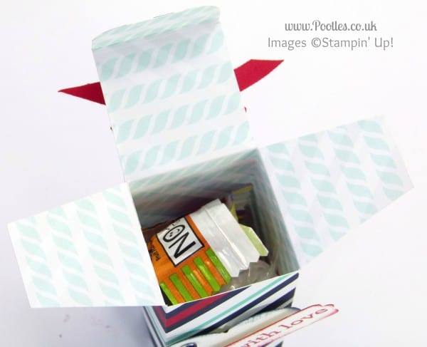 Stampin' Up! UK Demonstrator Pootles - 6x6 Top Opening Box Tutorial Opened