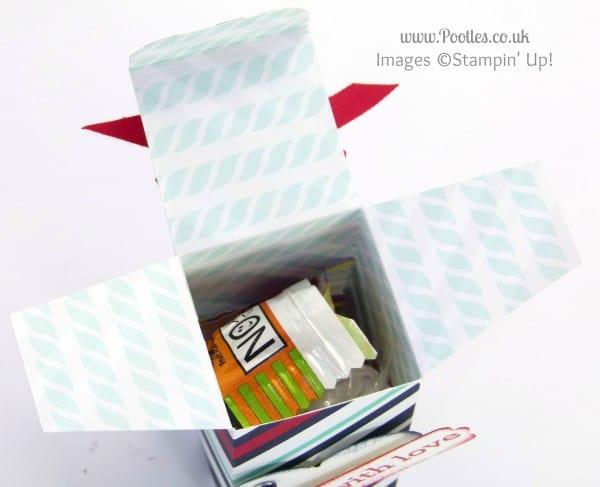 Stampin' Up! UK Demonstrator Pootles - 6x6 Top Opening Box Tutorial Opened