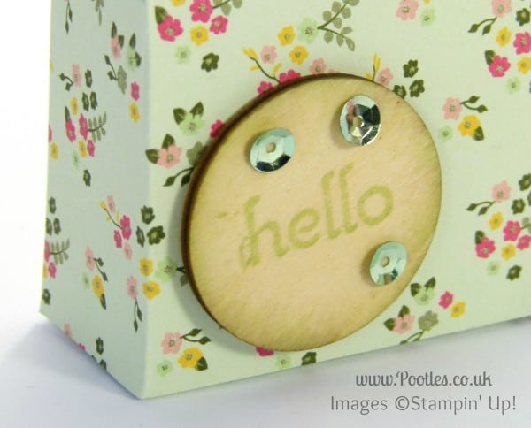 Stampin' Up! UK Demonstrator Pootles - DSP Stack Snack Box Tutorial Wooden Embellishment detail