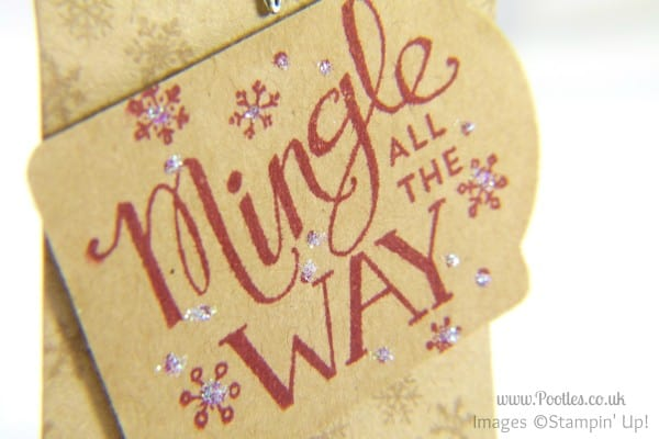 Stampin' Up! UK Demonstrator Pootles - Mingle All The Way Handmade Gift Tag stamped detail