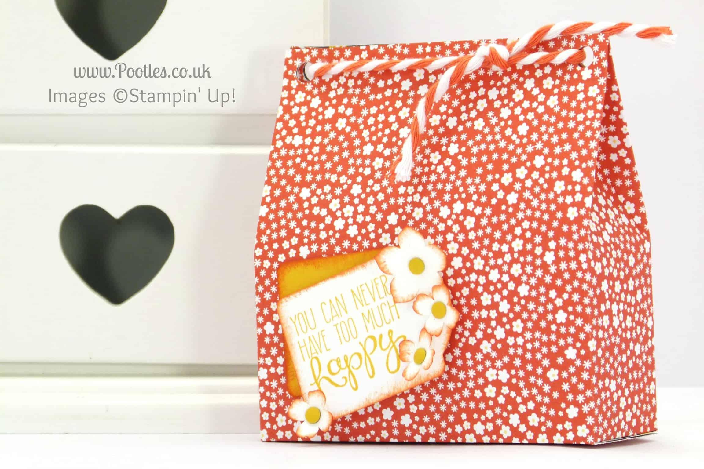 stampin up uk demonstrator pootles monochrome paper bag tutorial flower pot variation