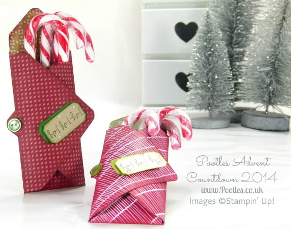 Pootles Advent Countdown #7 Candy Cane Envelope Punch Board Holder Tutorial