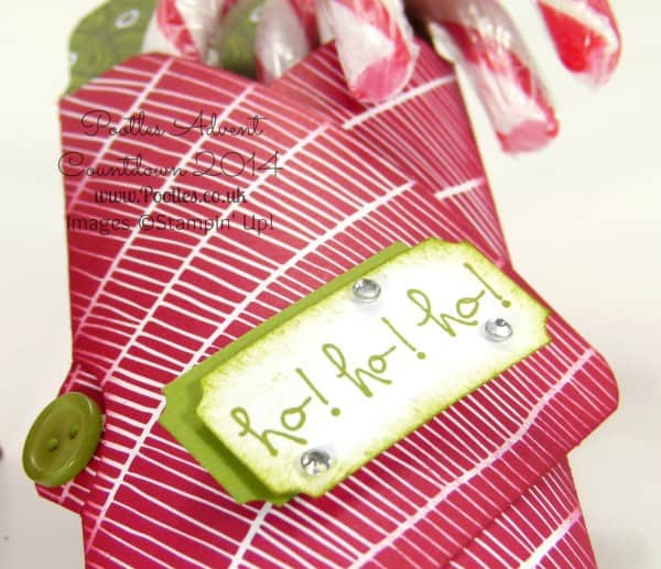 Pootles Advent Countdown #7 Candy Cane Envelope Punch Board Holder Tutorial Stamped Detail