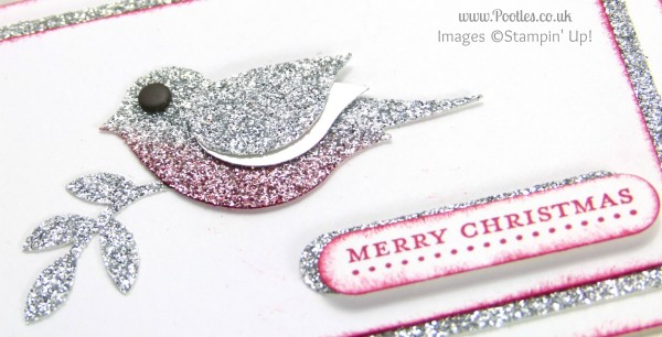 Pootles Mini Merry Christmas Card using Stampin' Up! Bird Builder Punch close up detail