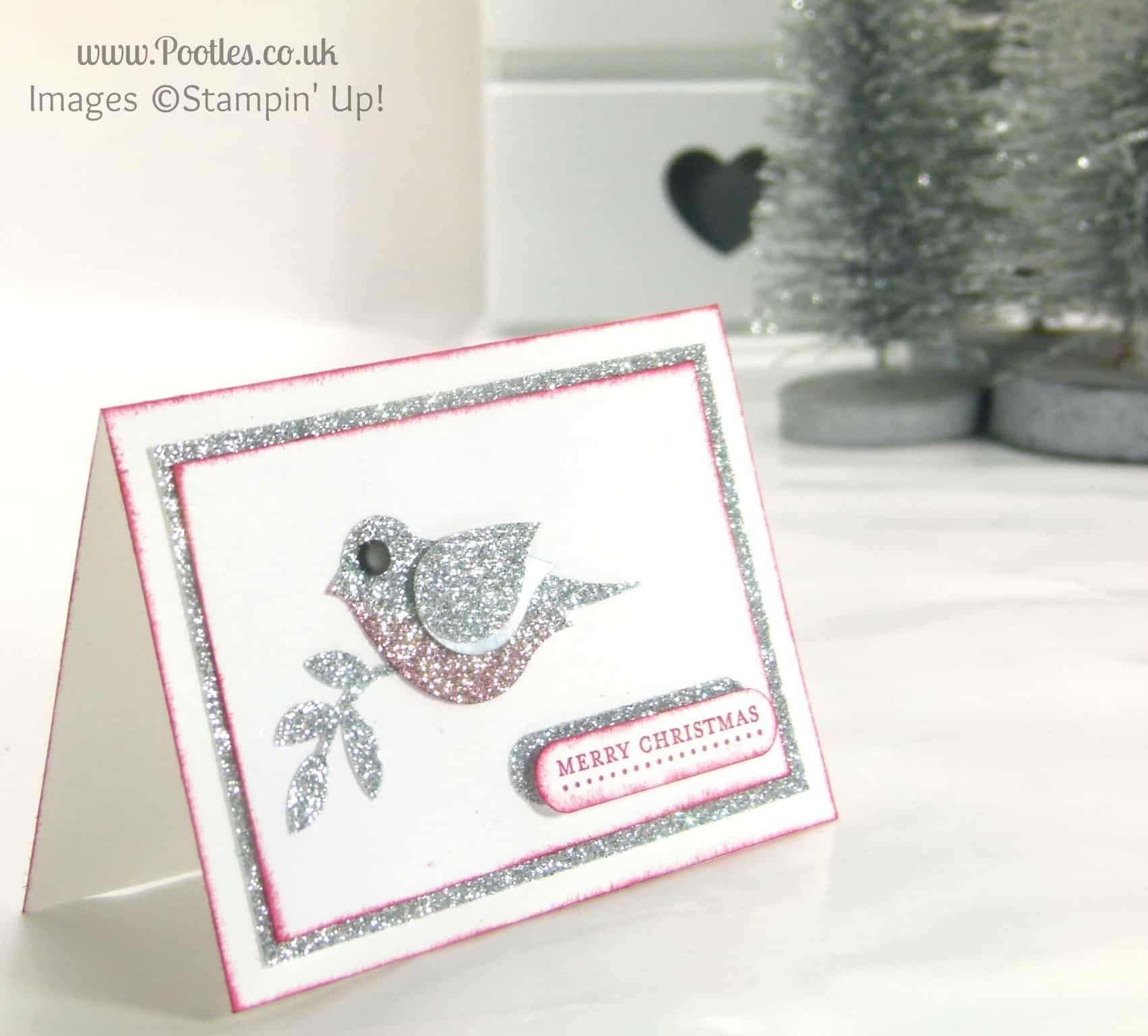 Mini Merry Christmas Card using Stampin\' Up! Bird Builder Punch