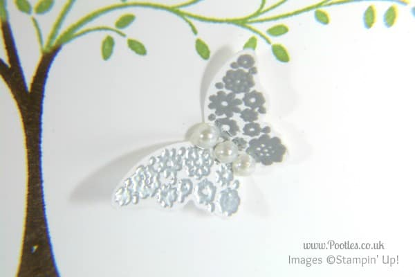 Stampin' Up! UK Demonstrator Pootles - Hopeful Thoughts with Butterflies Silver Heat Embossed Butterfly