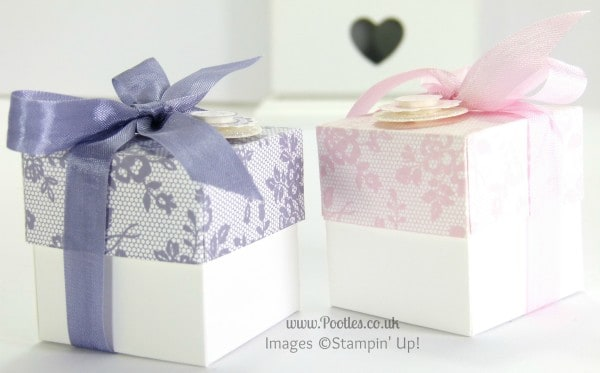 Stampin' Up! UK Demonstrator Pootles - 2 (5cm) Cube Box Tutorial using Stampin' Up! UK I Love Lace