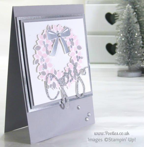 Stampin' Up! UK Demonstrator Pootles - Pink & Silver Christmas Card using Stampin' Up! Wonderous Wreath