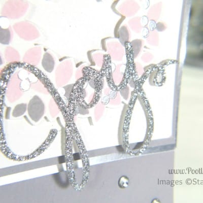 Pink & Silver Christmas Card using Stampin' Up! Wondrous Wreath