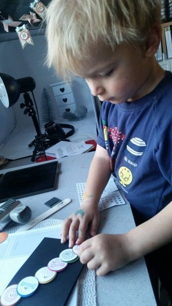 oliver making his card 2