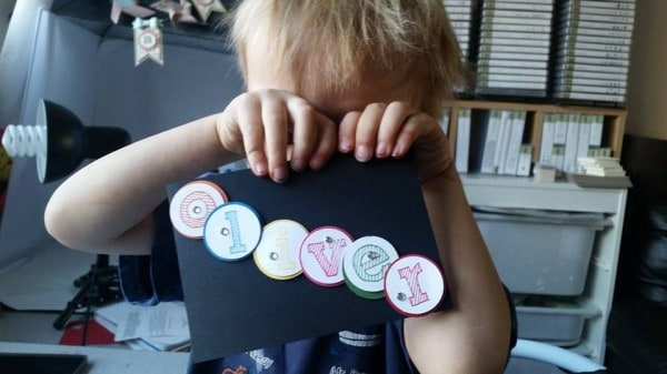 oliver making his card 3