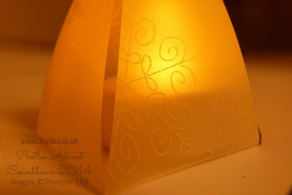 Pootles Advent Countdown #20 Envelope Punch Board Lantern Tutorial Stamped Detail