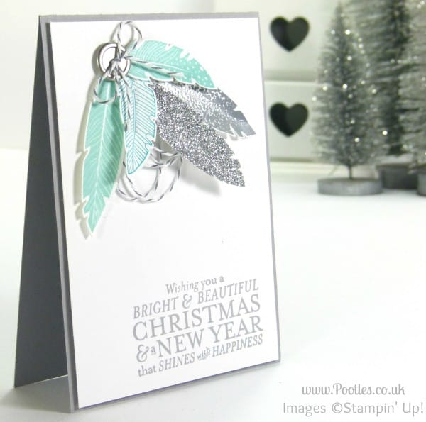 Pootles Stampin' Up! UK Demonstrator - Bright & Beautiful Four Feathers Christmas Card