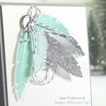 Pootles Stampin' Up! UK Demonstrator - Bright & Beautiful Four Feathers Christmas Card Close Up
