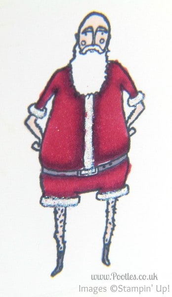 Stampin' Up! UK Demonstrator Pootles - Crazy Santa with Stampin' Up! Visions of Santa and Blendabilities detail