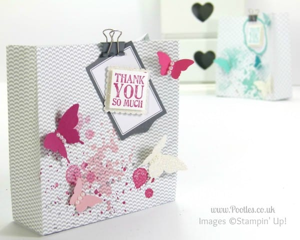 Stampin' up! UK Independent Demonstrator Pootles - Tag a Bag with Butterflies! pinks