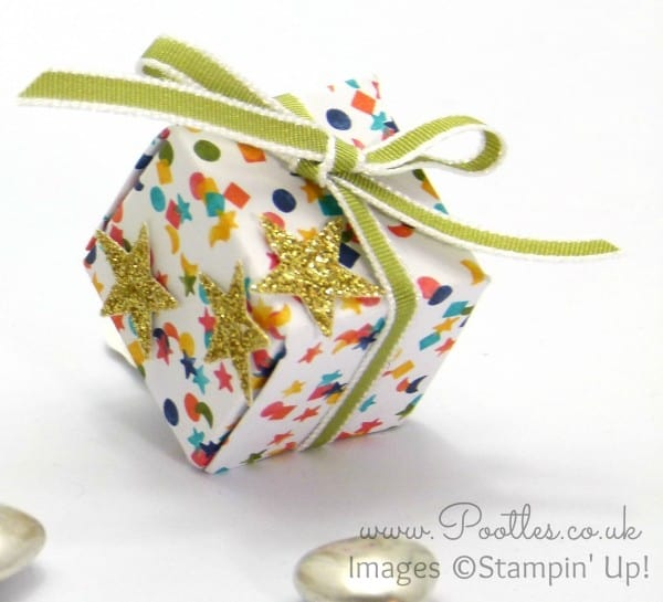 Pootles - Inchie Box Tutorial using Stampin' Up! Birthday Bash DSP Close Up