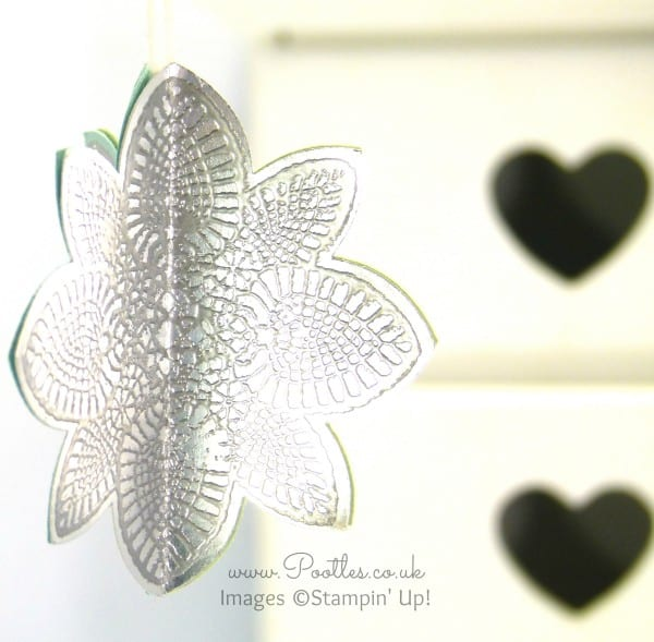 South Hill Designs & Stampin Up Sunday 3D Hanging Decoration Tutorial Heat Embossing