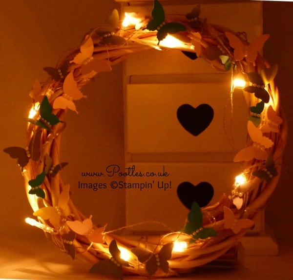 SpringWatch 2015 Butterfly Illuminated Wreath Tutorial Night View