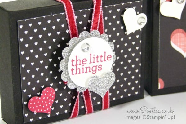 Stampin' Up! Demonstrator Pootles - UK Valentine's Envelope Punch Board Box Tutorial Stamped Detail
