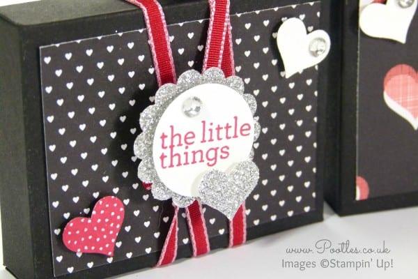 Stampin' Up! Demonstrator Pootles - UK Valentine's Envelope Punch Board Box Tutorial Stamped Detail