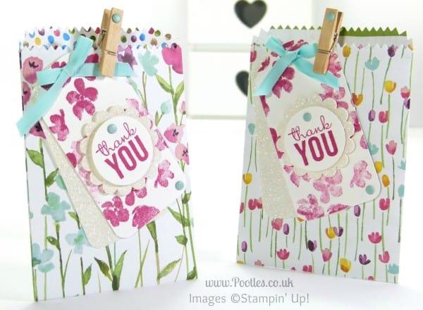 Stampin' Up! UK Demonstrator Pootles - Painted Blooms Mini Treat Bag Tip Tutorial