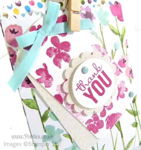 Stampin' Up! UK Demonstrator Pootles - Painted Blooms Mini Treat Bag Tip Tutorial Ornate Tag Topper
