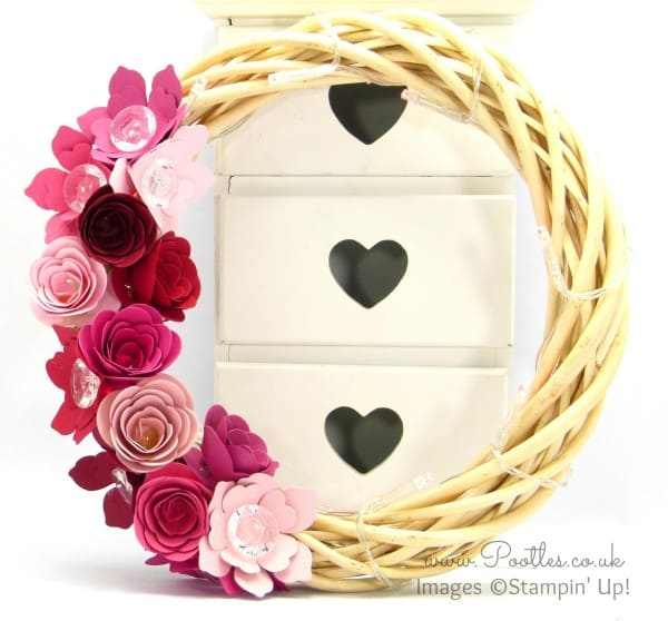 Stampin' Up! UK Demonstrator Pootles - Spring Valentine's Wreath using Spiral Flower BigZ Die